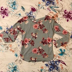Grey Rue21 Top With Pink and Red Floral Pattern